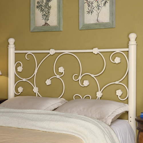 Coaster Full Queen Floral Metal Headboard, White by Coaster of America