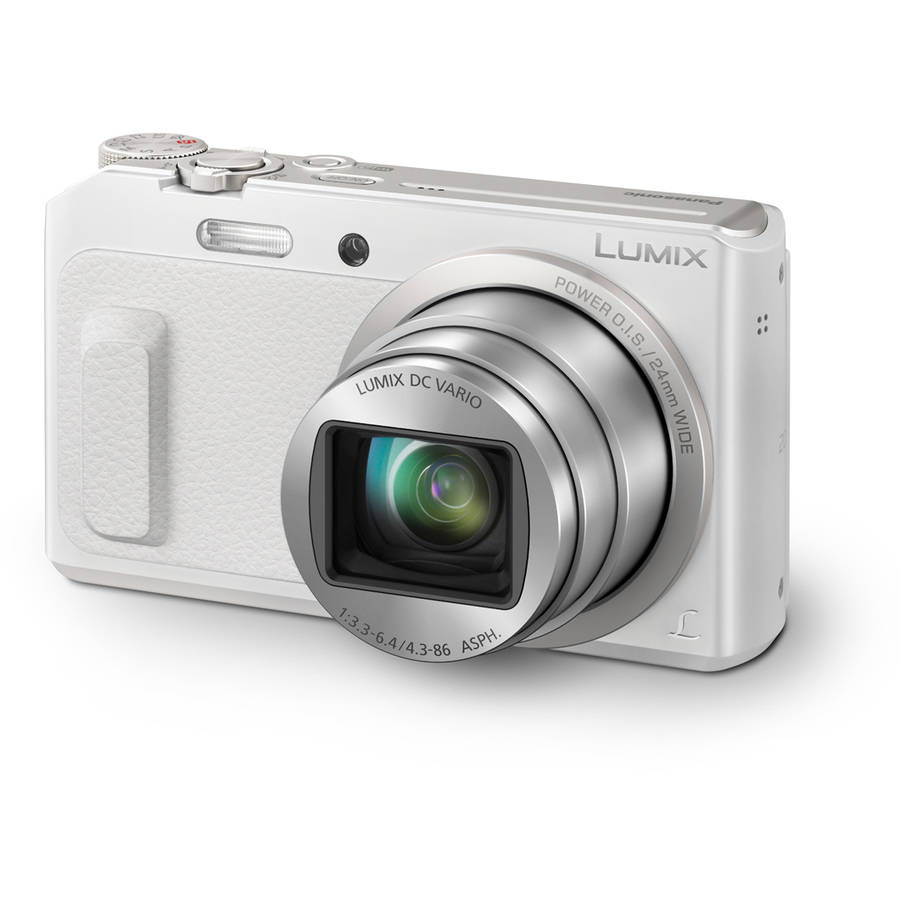 Panasonic Lumix 20X Zoom Digital Camera w/ Wink-Activated Selfie Feature - White