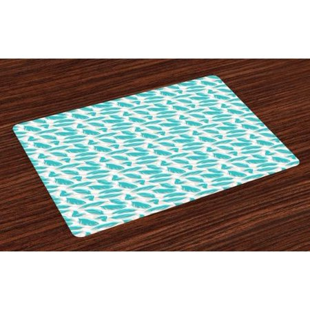 Turquoise Placemats Set of 4 Quills Design Bird Feathers Abstract Animal Elements Nature Inspired, Washable Fabric Place Mats for Dining Room Kitchen Table Decor,Turquoise White Beige, by Ambesonne (Feather Place)