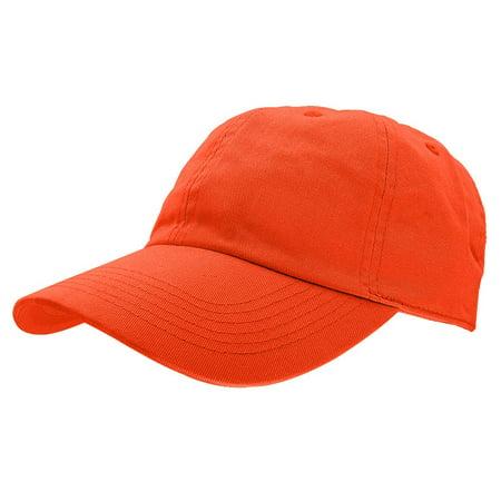 Falari Baseball Cap Hat 100% Cotton Adjustable Size Orange