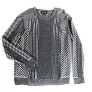INC NEW Charcoal Gray Men Medium M Crewneck Cable-Knit Pullover Sweater
