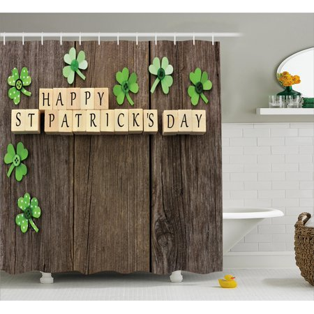 St. Patrick's Day Shower Curtain, Greetings with Wooden Blocks and Paper Shamrocks on Rustic Planks Image, Fabric Bathroom Set with Hooks, Umber Beige, by Ambesonne