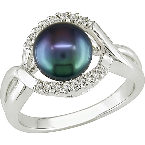 Asteria 7.5-8mm Black Freshwater Cultured Pearl with Diamond Accent Ring in Sterling Silver