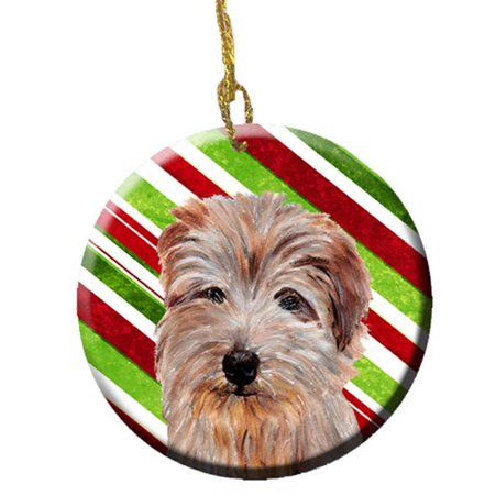 Norfolk Terrier Candy Cane Christmas Ceramic Ornament - image 1 of 1