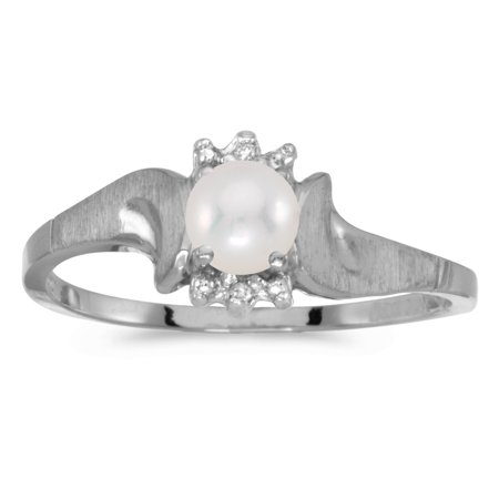 10k White Gold Freshwater Cultured Pearl And Diamond Satin Finish Ring