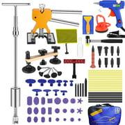 Auto Body Paintless Dent Repair Removal Tool Kits 82pcs Dent Lifter Bridge Puller Hot Melt Glue Gun Glue Pulling Tabs with Tools Bag
