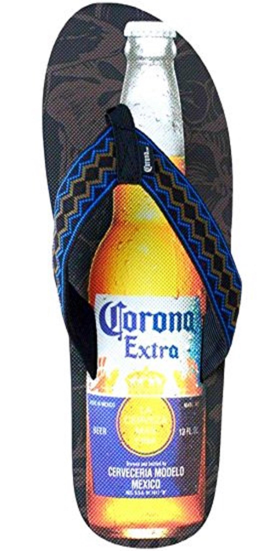 377989823 Corona Extra Beer Bottle Mens Black-Brown-Blue Flip Flops Sandals Thongs (X- Large)