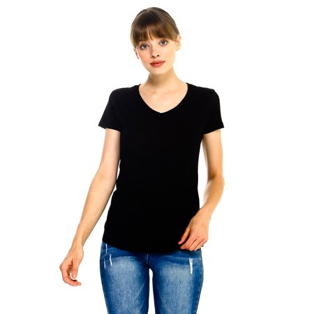 Naf Inc Juniors Deep V-Neck T-Shirt Lightweight Burned Cotton Black Small