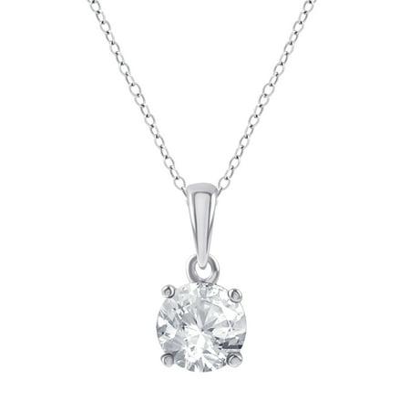 Military White Pendant (3/8 Carat T.W. Diamond Sterling Silver Round Diamond Solitaire Pendant )