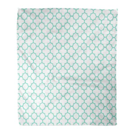 SIDONKU Throw Blanket Warm Cozy Print Flannel Blue Trellis White Aqua Quatrefoil Pattern Green Baby Comfortable Soft for Bed Sofa and Couch 58x80 Inches