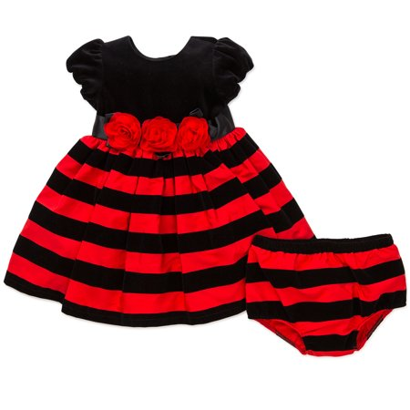 Little Me Black Red Special Occasion Dress Panty Outfit Christmas Holiday 9M For Infant Girls and For Toddler Girls