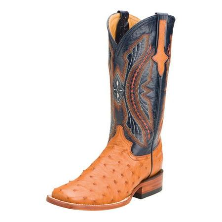 Ferrini Western Boots Womens Full Quill Ostrich Cognac Navy 80193-02