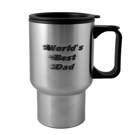14oz Worlds Best Dad Fire Font stainless steel mug W/Handle (The Best Fonts For Logos)