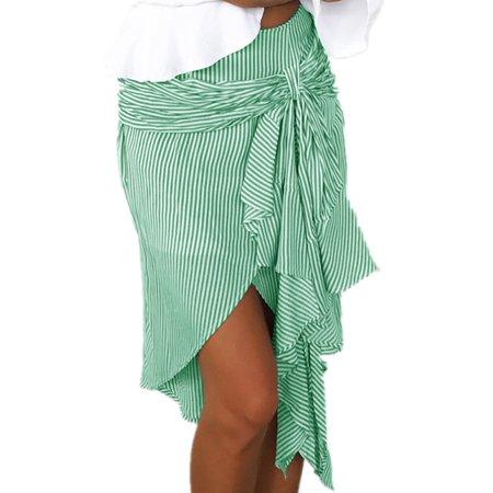 (Striped Print Women High Waist Casual Irregular Skirt)