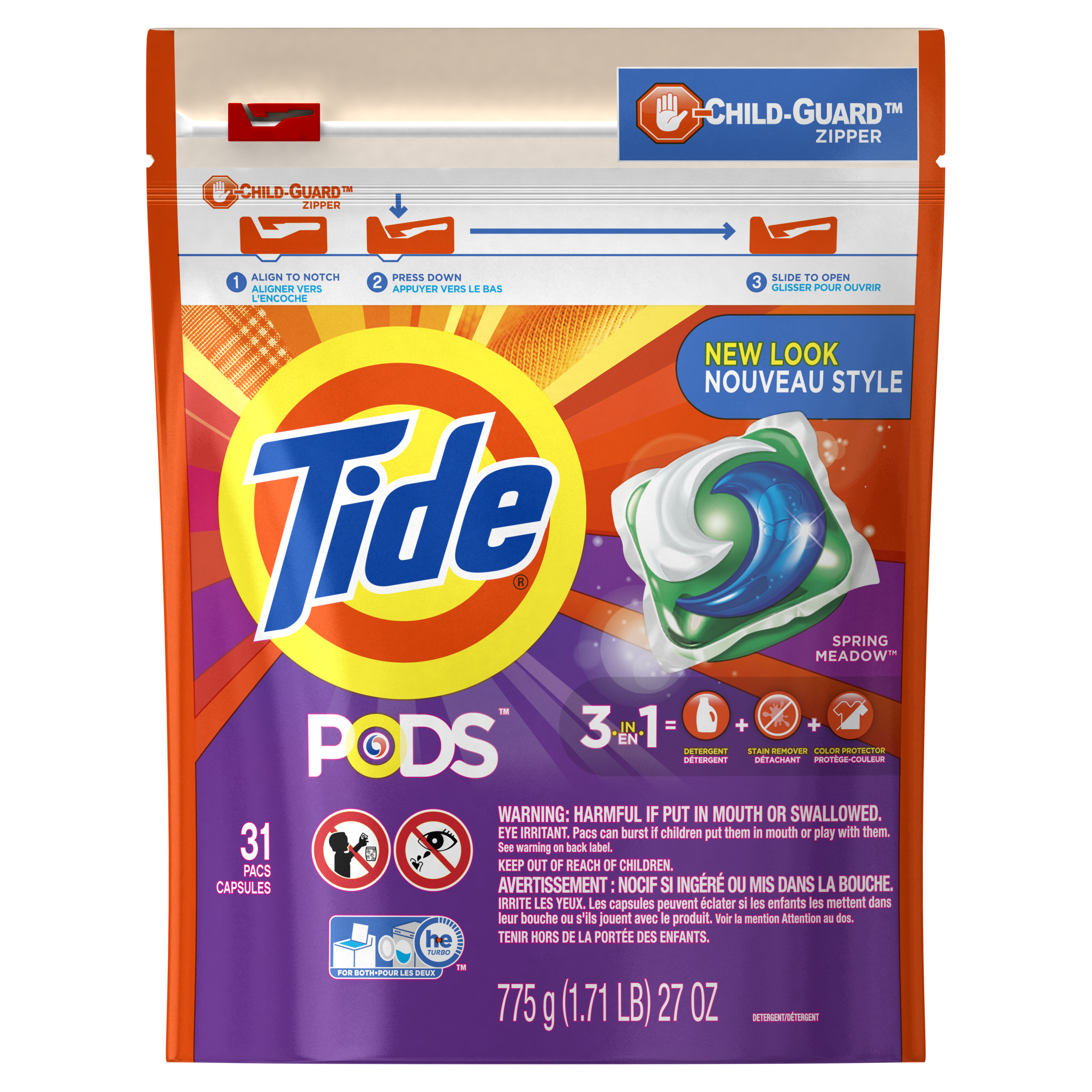 Tide PODS Spring Meadow Scent HE Turbo Liquid Detergent Pacs, 31 count