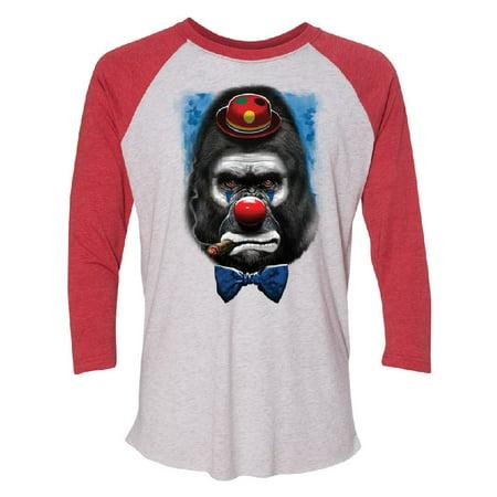 Gorilla Clown Smoking Cigar 3/4 Raglan Tee Funny Halloween 2017 Jersey Red / White Medium