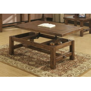 "Emerald Home Chambers Creek Brown 52"" Coffee Table with Lift Top Storage, Plank Style Top, And Straight Timber Legs"