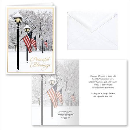 Patriotic Lamppost Christmas Card Set of 20 - Tinkerbell Christmas Cards
