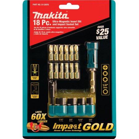 Makita-B-53970 Impact Gold Driver Bit and Socket Set (18-Piece) ()