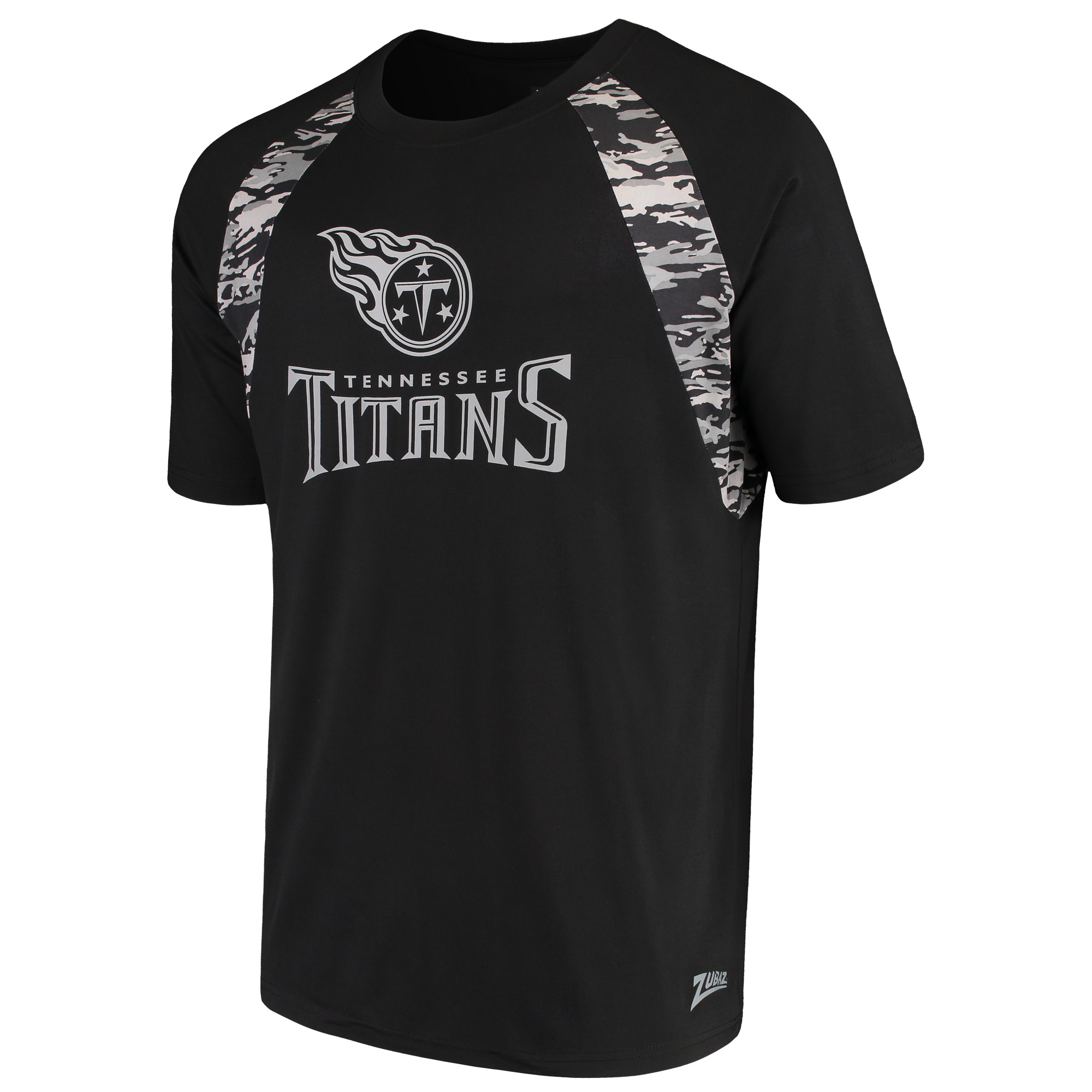 Men's Zubaz Black Tennessee Titans Camo Raglan T-Shirt