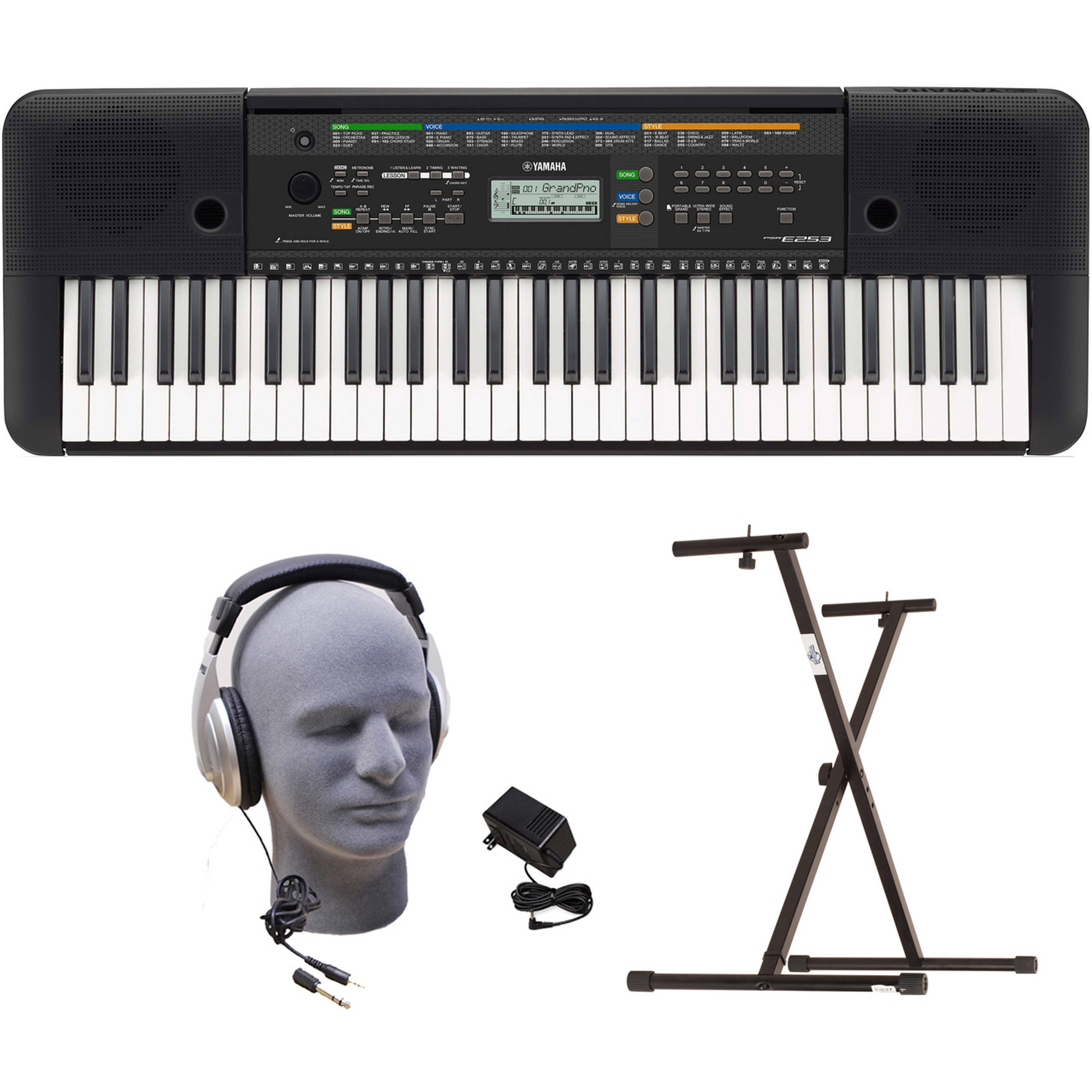 Yamaha PSR-E253 Portable Keyboard Package with Headphones, Power Supply and Stand by Yamaha