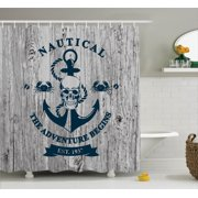 Anchor Decor Shower Curtain Set Art With Anchor Skull Rope Nautical The Adventure Begins