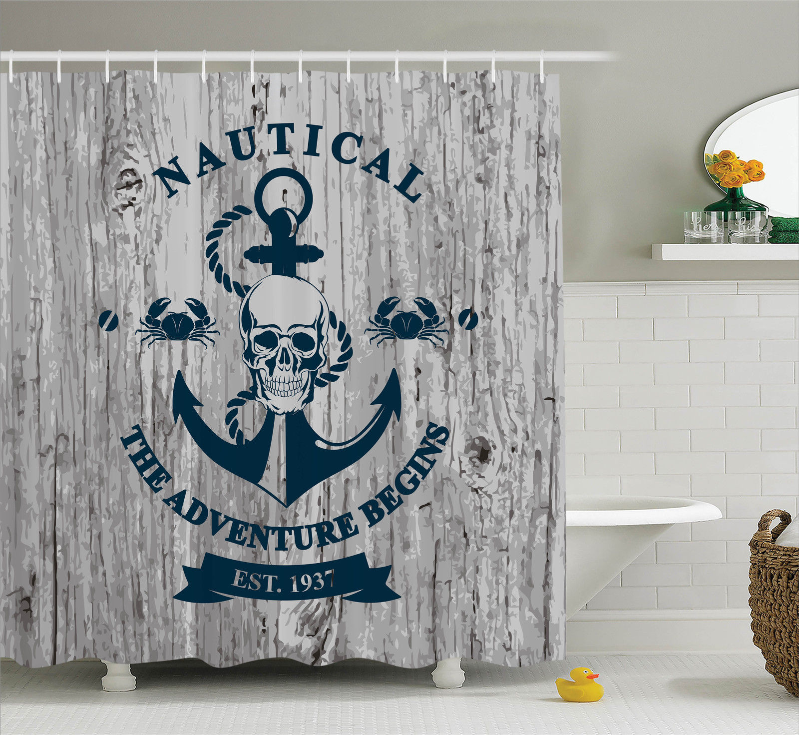 "Anchor Decor Shower Curtain Set, Art With Anchor Skull Rope ""Nautical The Adventure Begins"" Message Historic, Bathroom Accessories, 69W X 70L Inches, By Ambesonne"