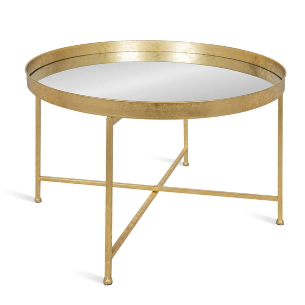 Kate And Laurel Celia Round Metal Foldable Coffee Table With Mirrored Tray Top Gold Walmart Com Walmart Com