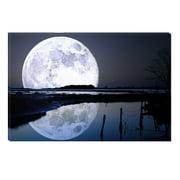 "Startonight Canvas Wall Art ""Landscape Full Moon Water Reflection"", Illuminated Landscapes Canvas Decor 5 Stars Gift 31.5 x 47.2 inch"