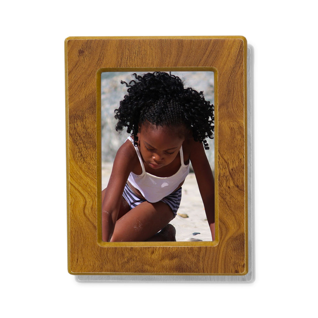 Wood Photo Cremation Urn - Large 85 Pounds - Natural Brown Photo Frame