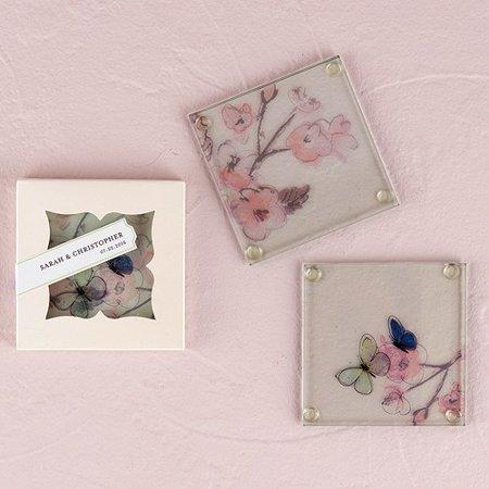 Glass Botanical Coaster Set Wedding - Wedding Coasters