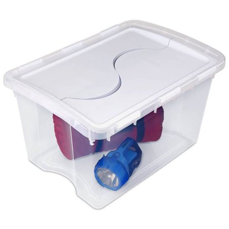 Sterilite 1914 Single 48 Quart Clear Base Hinged Lid Storage Box Tote Container - image 4 de 12