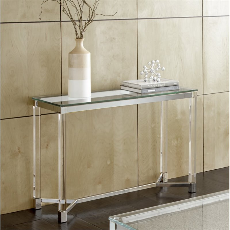 Steve Silver Talia Glass Top Acrylic Coffee Table in Chrome