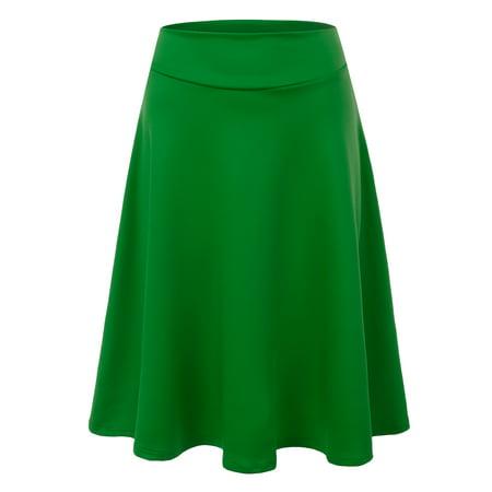 985624424ace5 Doublju - Doublju Women s Versatile Flare Stretch Wide Band Skater Skirts  GREEN XL - Walmart.com
