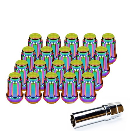 20pcs Neo Chrome 6 Spline Turner M12x1.5 Lug Nuts with Key for Toyota Acura Toyota Ford