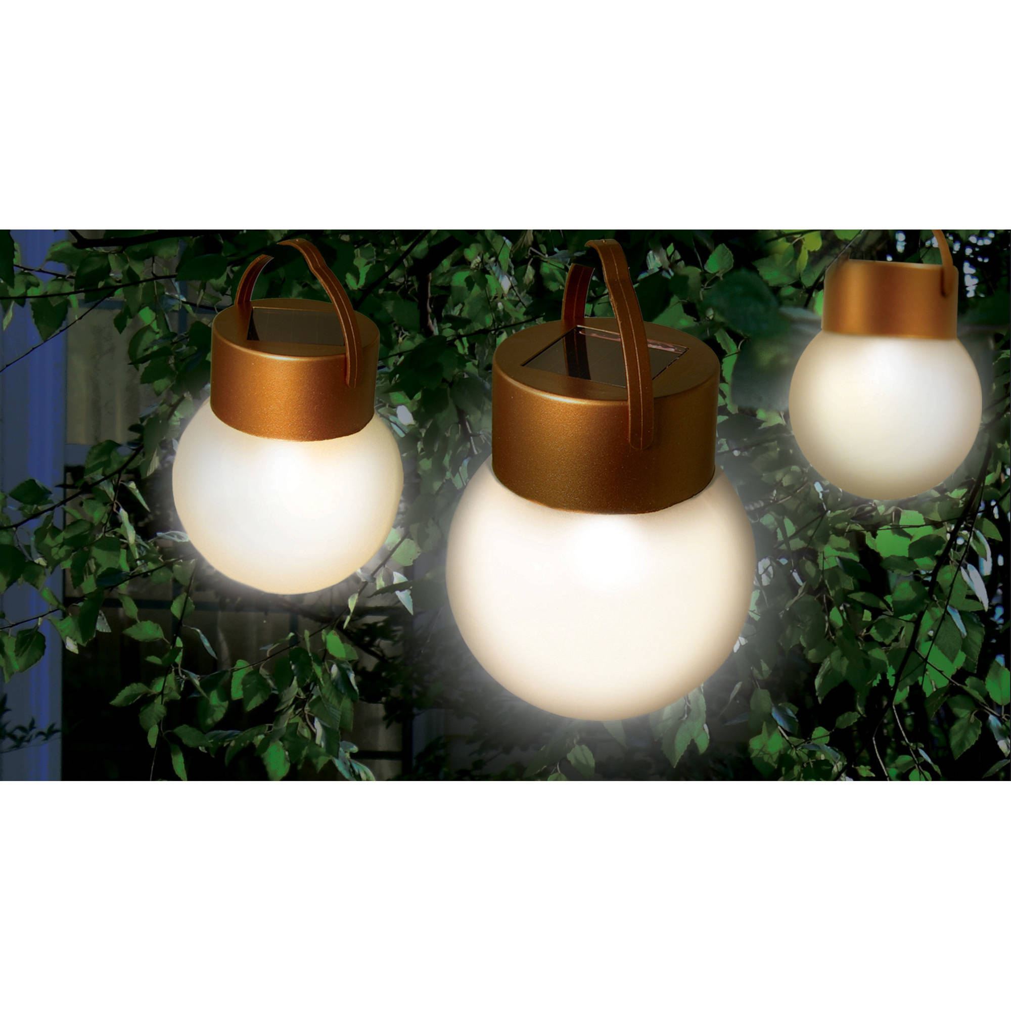 Ideaworks JB6638 Hanging Solar LED Lights, Copper and Frosted by Jobar International