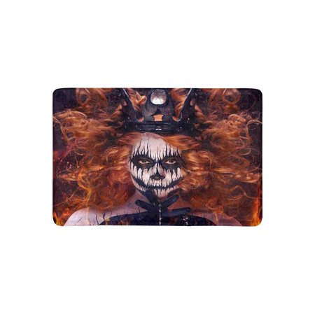 MKHERT Queen of Death Scary Body Art Halloween Theme Doormat Rug Home Decor Floor Mat Bath Mat 23.6x15.7 inch - Halloween Themed Art