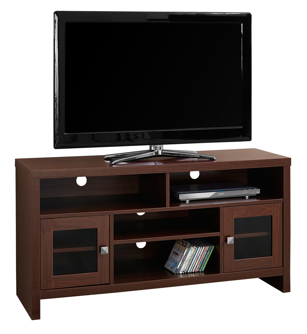 "Monarch Tv Stand Warm Cherry With Glass Doors For TVs Up To 48""L"