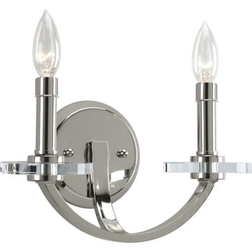 "Progress Lighting P2933 Nisse 2 Light 10"" Tall Wall Sconce with K9 Glass Accents"