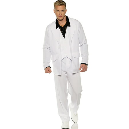 Hustle Mens 1970'S White Groovy Dancing Disco Suit Halloween Costume (Mens Disco Suit)