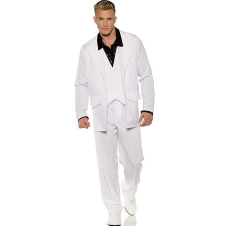 Hustle Mens 1970'S White Groovy Dancing Disco Suit Halloween - 1970 Disco Clothes