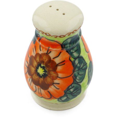 Finely Hand Painted Ceramic (Polish Pottery 3-inch Pepper Shaker (Fiery Poppies Theme) Signature UNIKAT Hand Painted in Boleslawiec, Poland + Certificate of Authenticity)