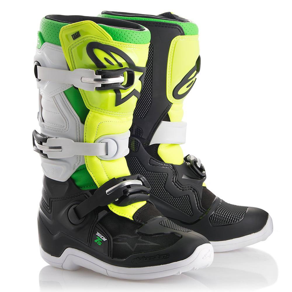 Alpinestars Tech 7S Youth MX Offroad Boots Black/White/Yellow/Green