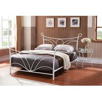 Laurel Hammer White Twin Size Metal Bed (Headboard, Footboard, Rails & Slats)