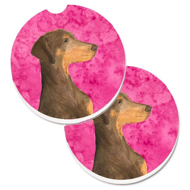 Carolines Treasures SS4755-PKCARC Pink Doberman Set of 2 Cup Holder Car Coaster - image 1 de 1