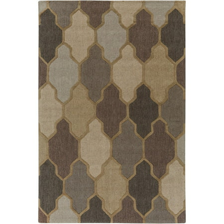 8' x 11' Brown and Gray Trellis Patterned Rectangular Hand Tufted Area Rug Brown 8'0'x11'0' Rectangular Rug