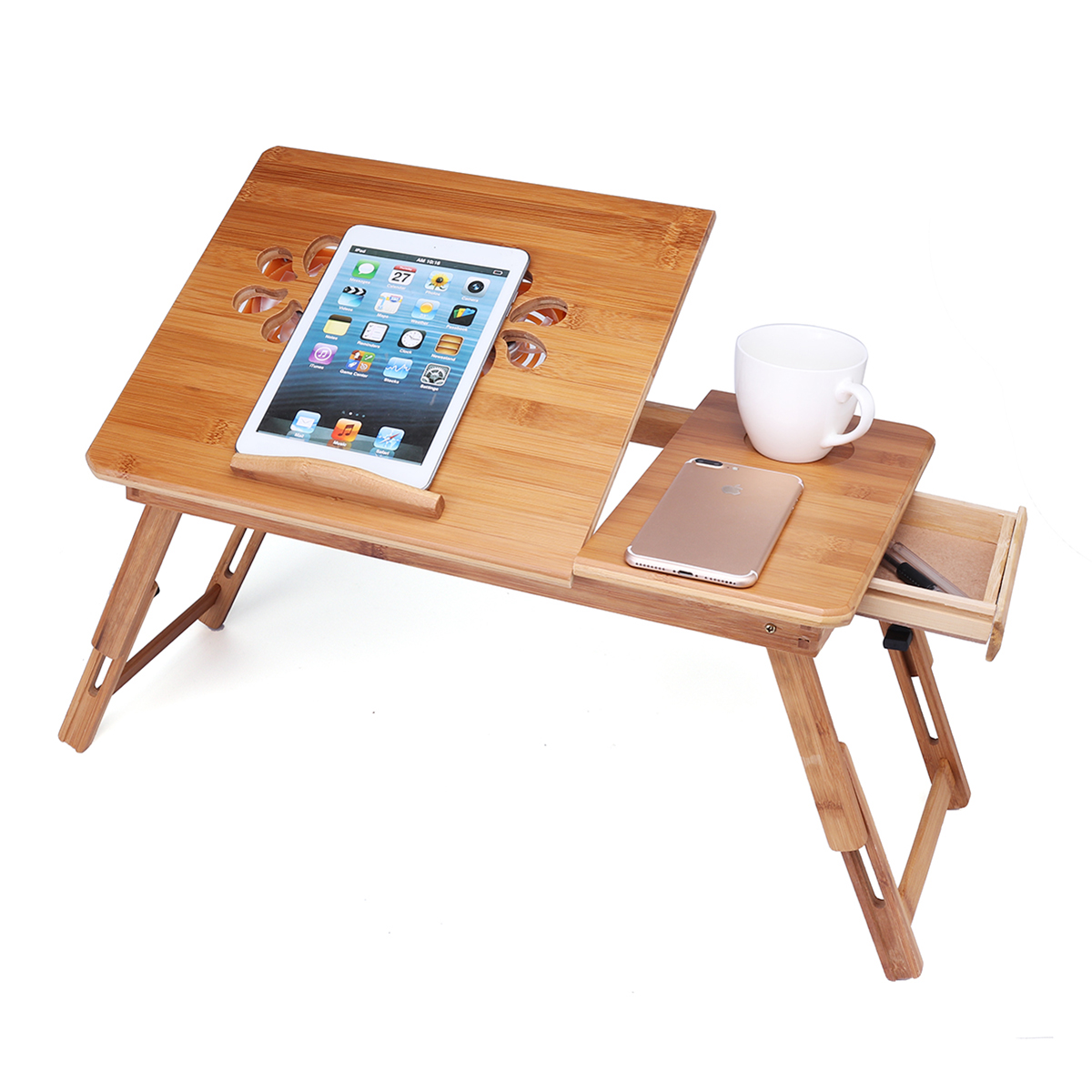 Portable Folding Lap Desk Bamboo Laptop Breakfast Tray Bed Table Stand with...