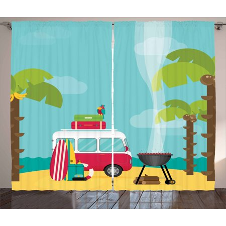 Explore Curtains 2 Panels Set, Caravan Camping with Barbeque and Surf  Boards Tropical Beach Banana Coconut Trees, Window Drapes for Living Room