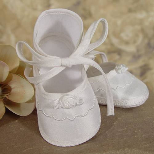 Baby Girls Champagne Silk Dupioni Embroidered Christening Shoes 0-3