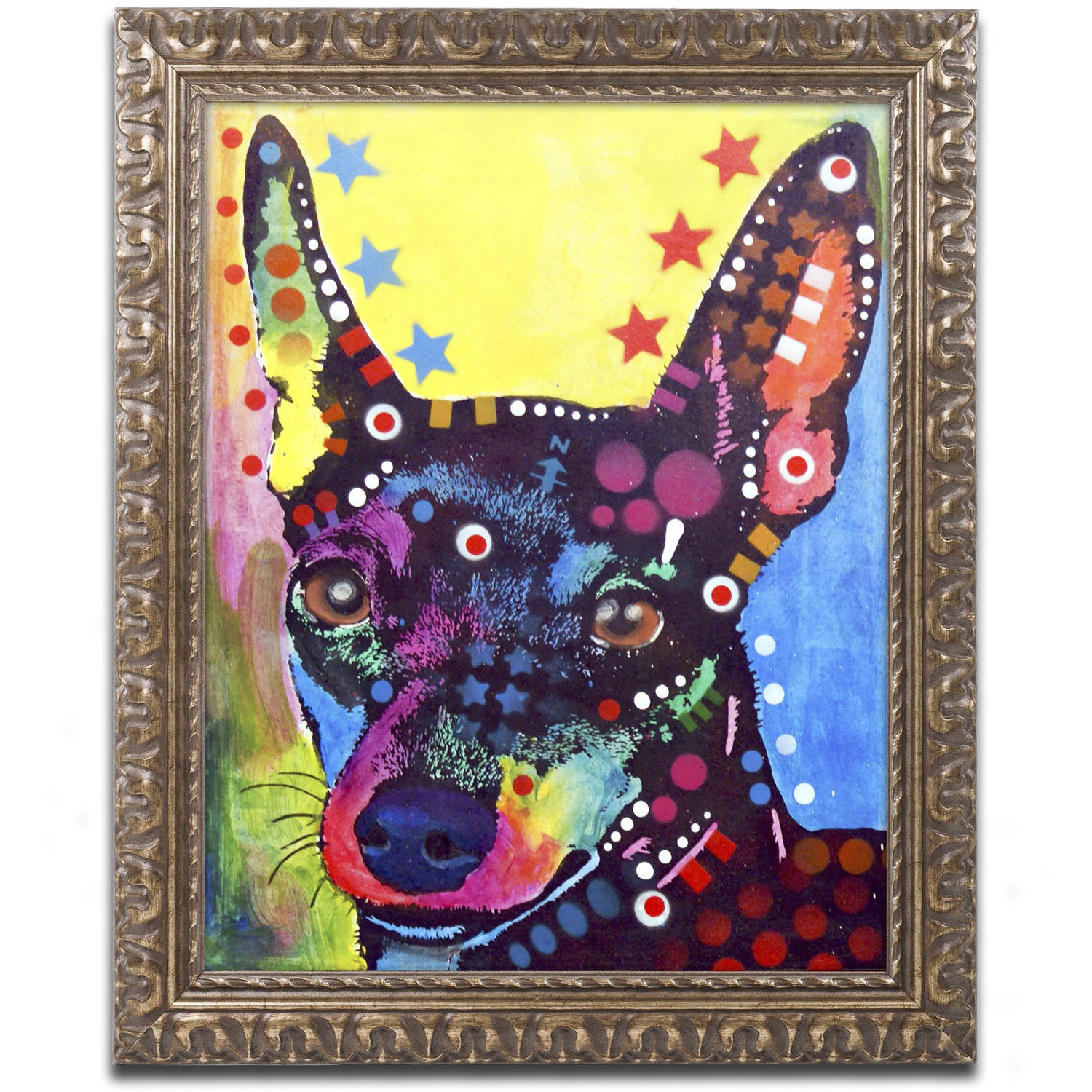"Trademark Fine Art ""Miniature Pinscher"" Canvas Art by Dean Russo, Gold Ornate... by Trademark Global LLC"